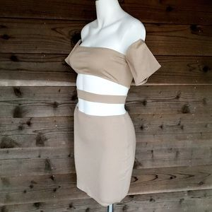 GoJane Cutout Bandeau BodyCon Zip Back Dress Sz M